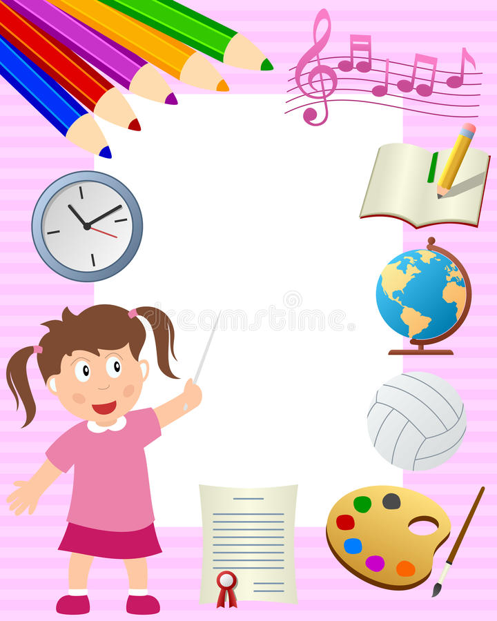 School Girl Photo Frame stock illustration