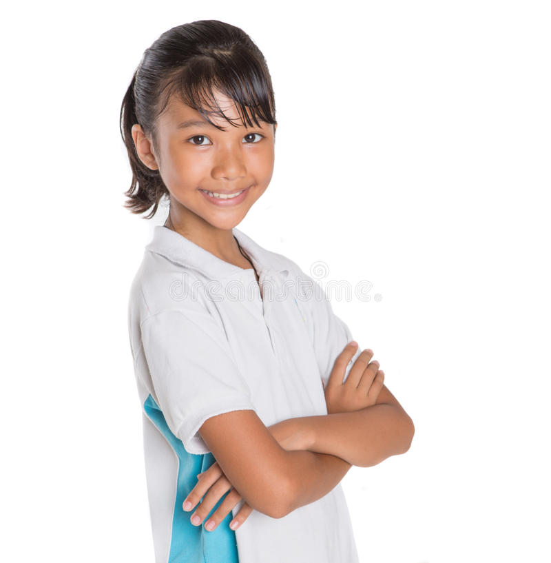 School Girl Portraiture VI. Young Asian school girl in school uniform over white background royalty free stock image
