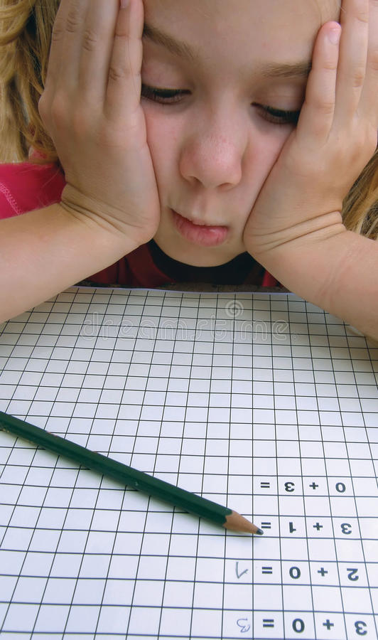 School Girl In Problems With Math Royalty Free Stock Images