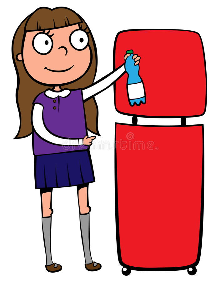 School girl recycling a plastic bottle royalty free illustration