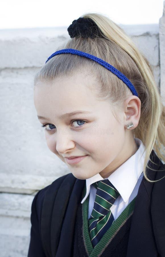 School girl in school uniform royalty free stock image