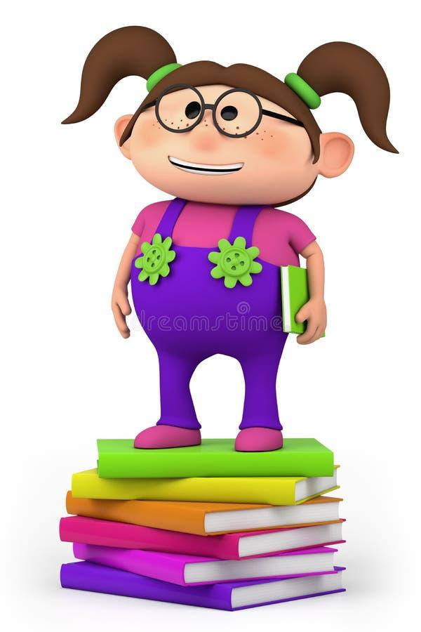 Download School Girl Standing On Stack Stock Illustration - Image: 24909642