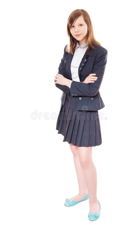 School girl standing. Teen high school student standing crossed hands isolated royalty free stock photos