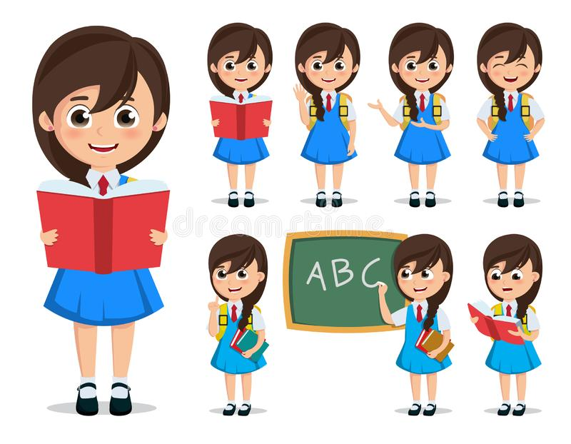 School girl student vector character set. Back to school kid cartoon character wearing uniform royalty free illustration