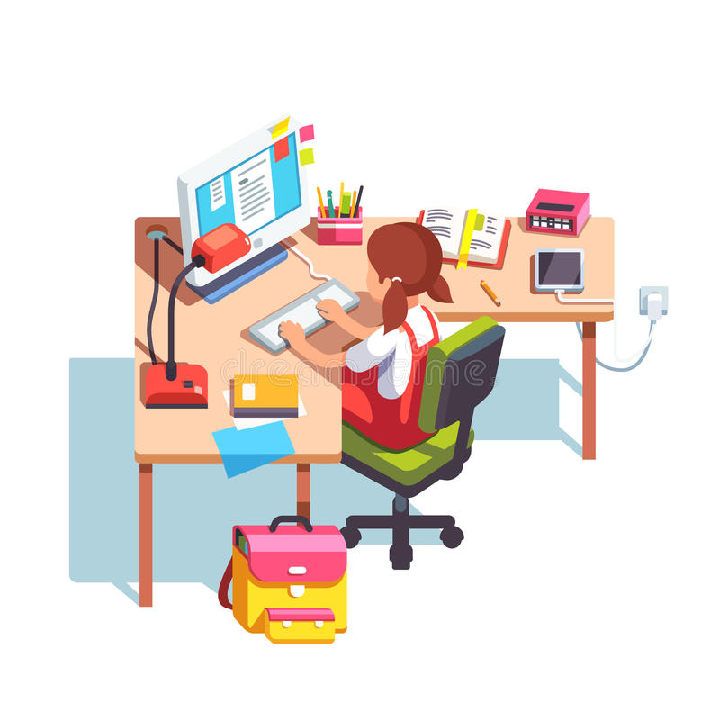 School girl studying and doing homework at table. Young school kid girl studying sitting in front of desktop computer at her home desk. Doing homework at home vector illustration