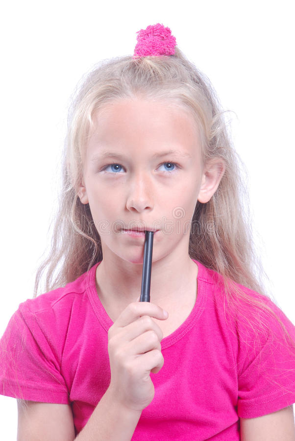 Download School girl thinking stock photo. Image of focusing, expression - 19936854
