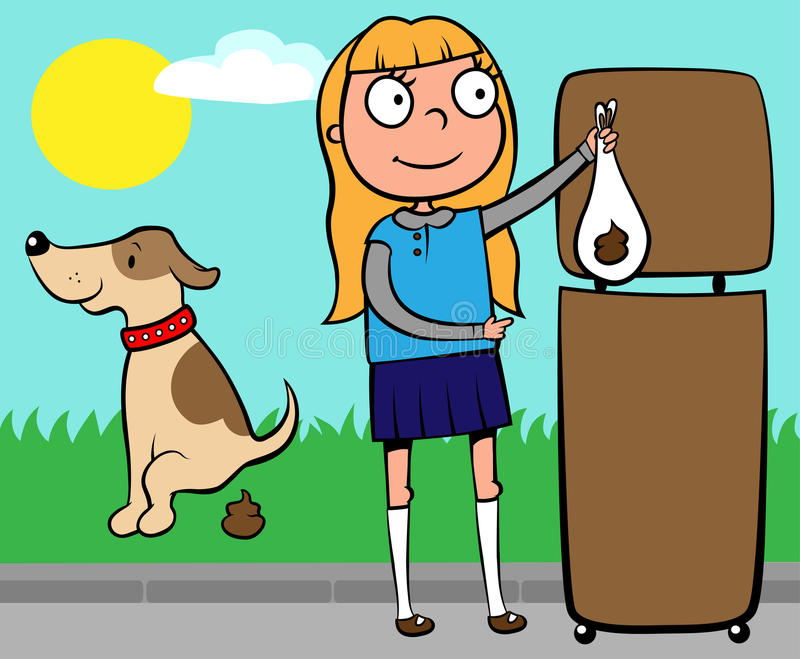 School girl throwing out dog's poo royalty free illustration