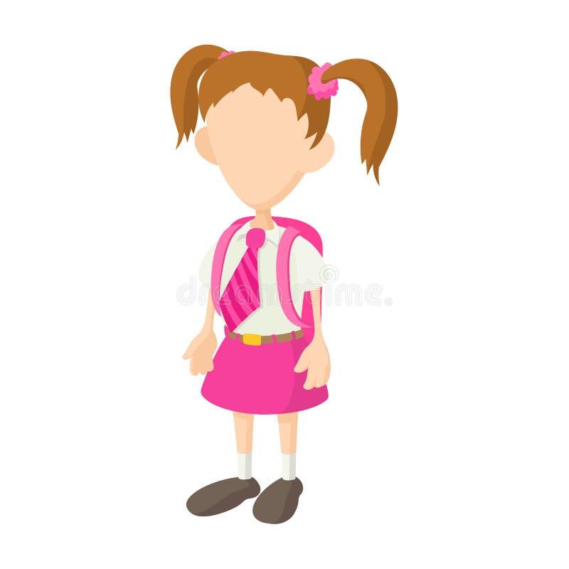 School girl in uniform icon, cartoon style royalty free illustration