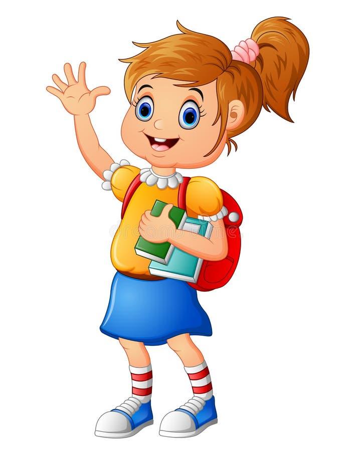School girl waving hand royalty free illustration