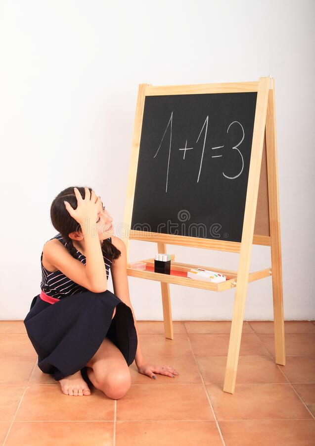 Free School Girl With Wrong Result Royalty Free Stock Photography - 177208347