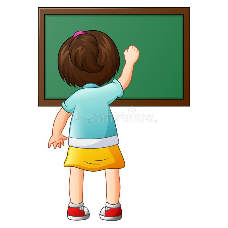 School girl writing on a blackboard royalty free illustration