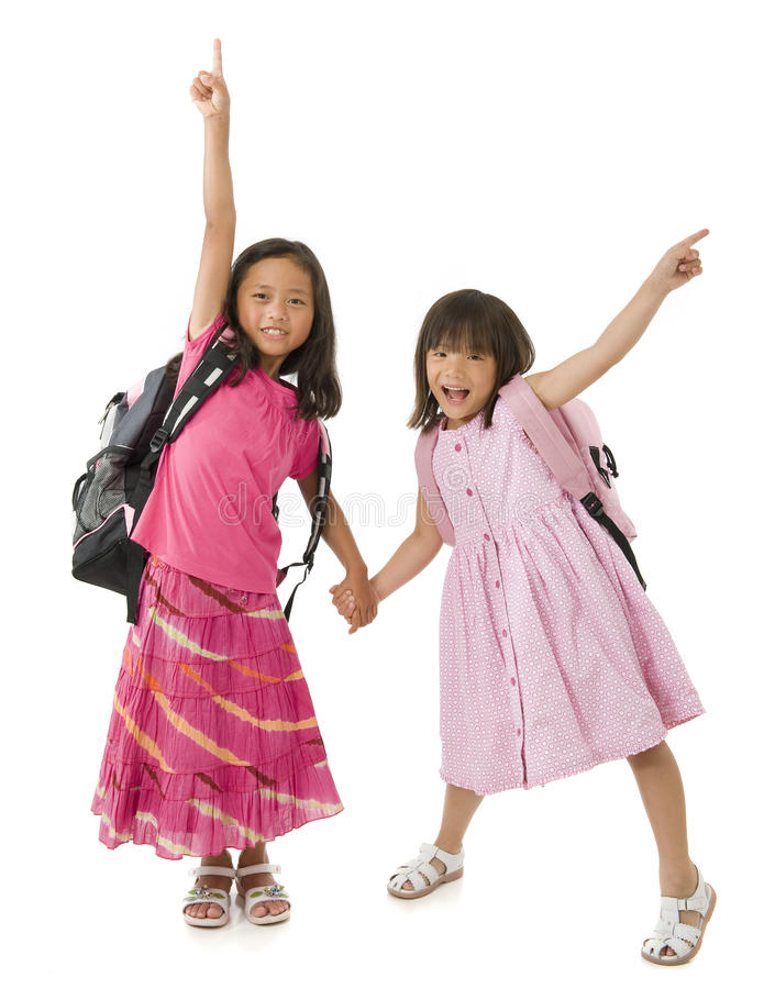 Download School Girls stock image. Image of backpack, childhood - 10638427