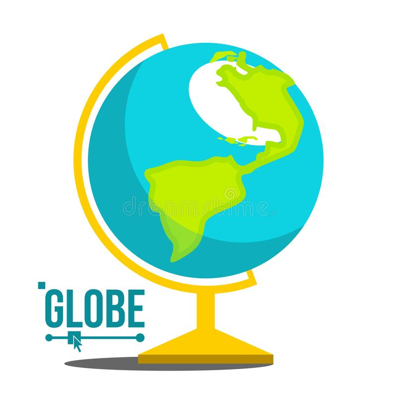 School Globe Icon Vector. Geography Earth Sphere Sign. Cartography Model. Travel Object. Isolated Flat Cartoon vector illustration