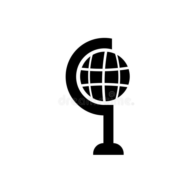 School globe icon vector sign and symbol isolated on white background, School globe logo concept stock illustration