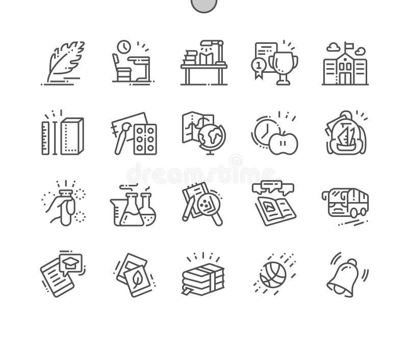 School goed-Bewerkte Pictogrammen 30 van de Pixel Perfecte Vector Dunne Lijn 2x Net voor Webgrafiek en Apps vector illustratie
