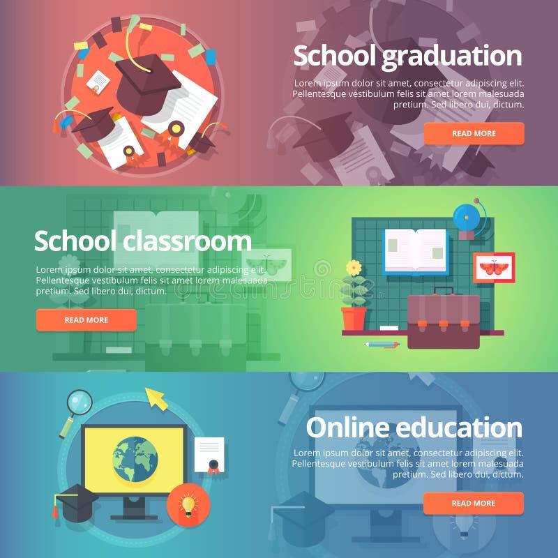 School graduation. Cap and gown. School classroom. Inline education. royalty free illustration