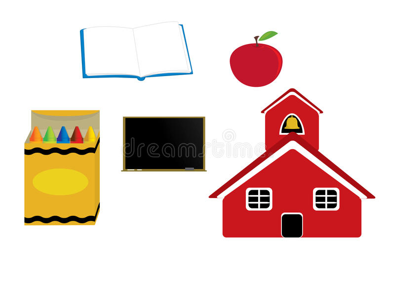 School graphics. Schoolhouse apple crayons blackboard and open book isolated on a white background stock illustration