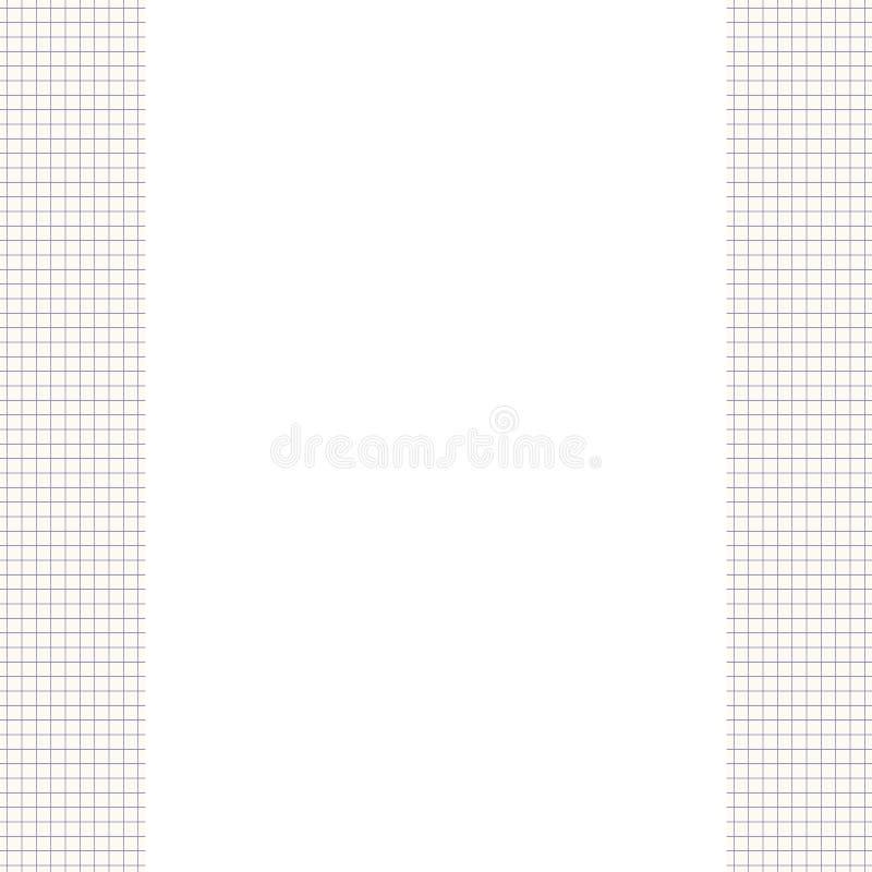 School grote blauwe kooi op een bleke violette document achtergrond met een wit gebied in het centrum van een blocnote vector naa stock illustratie