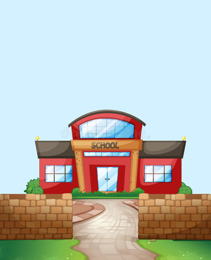 School. Ground with brick wall and lawn royalty free illustration