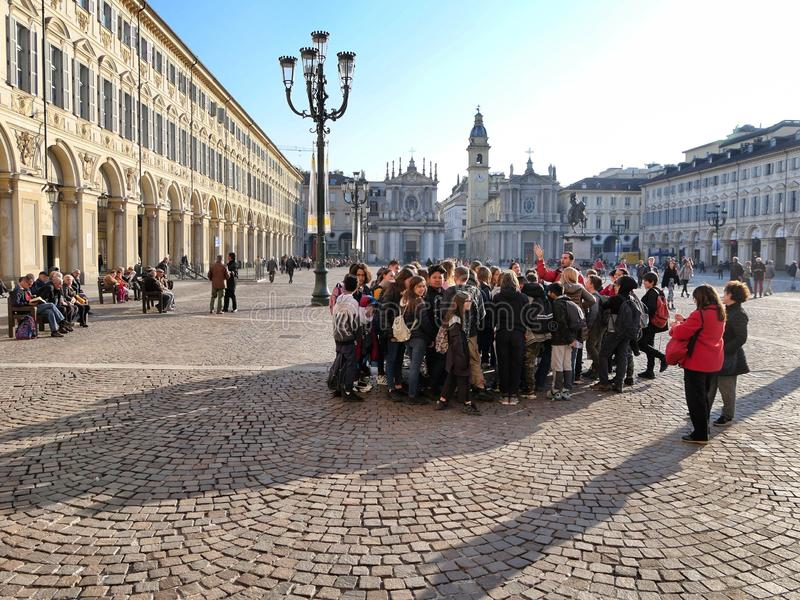 School group excursion following the lesson of the tour guide i stock photography
