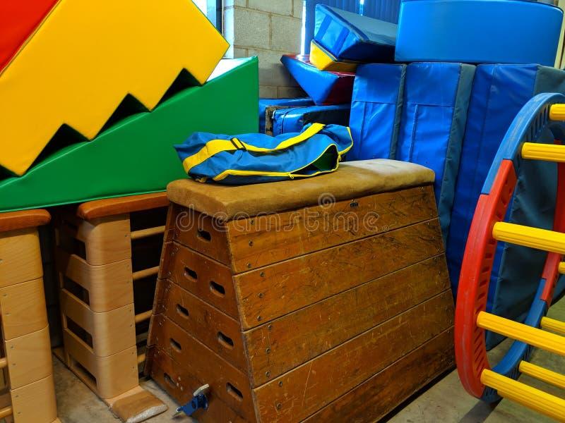 A school gymnasium equipment storage area stock photos