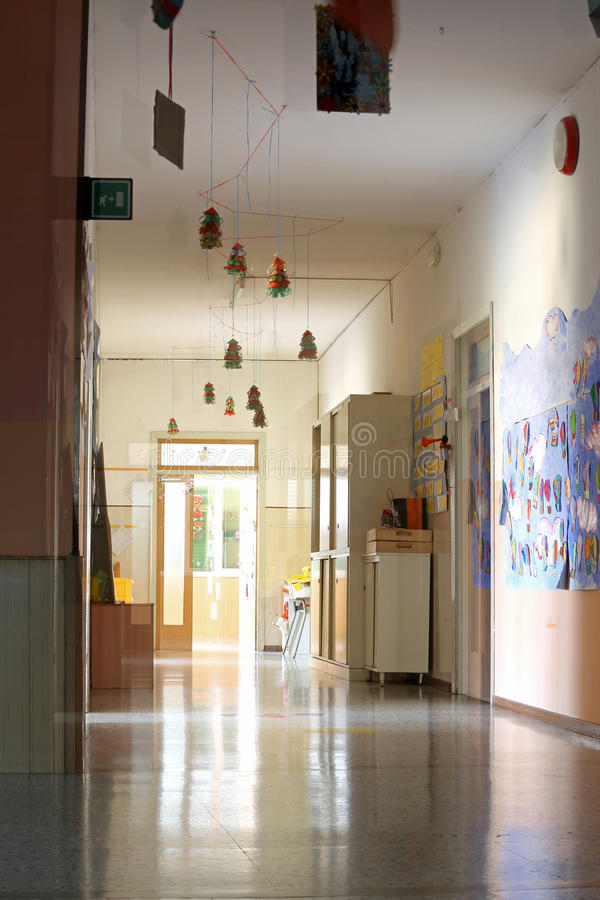 school hallway with the drawings on the walls royalty free stock images