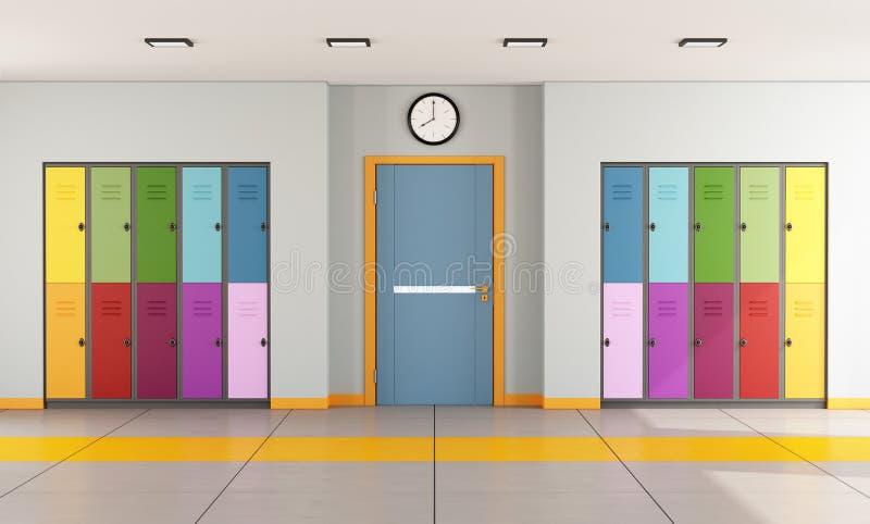 Modern Classroom Clipart ~ School hallway with student lockers stock illustration