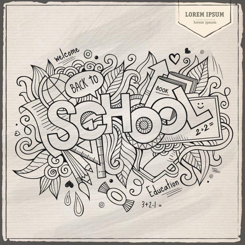 School hand lettering and doodles elements. Background. Vector illustration royalty free illustration