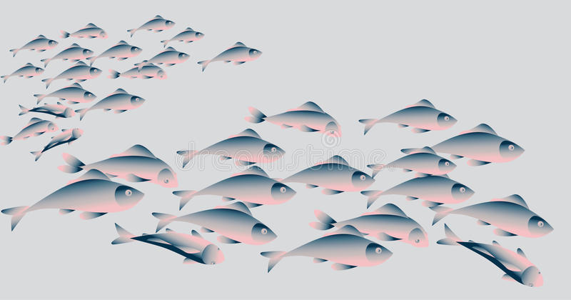 School of herring fish on white background. Simple concept vector illustration stock illustration