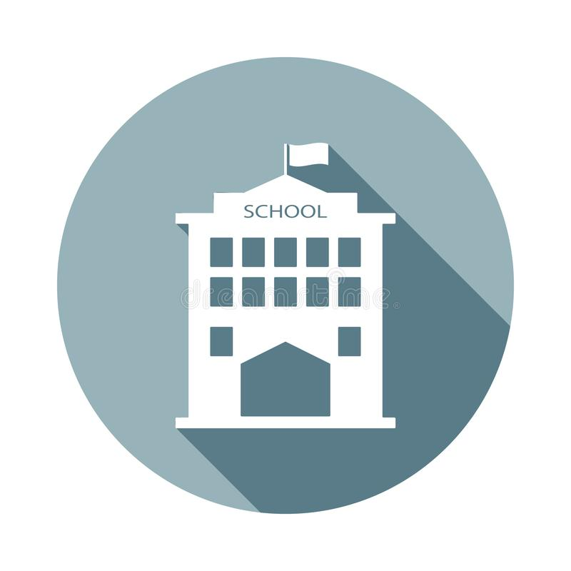 School icon in Flat long shadow style. One of web collection icon can be used for UI, UX. On white background royalty free illustration