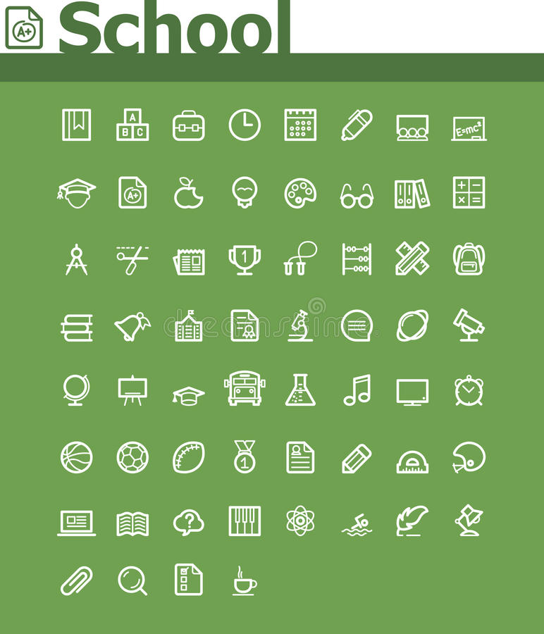 School icon set. Set of the simple school related icons vector illustration