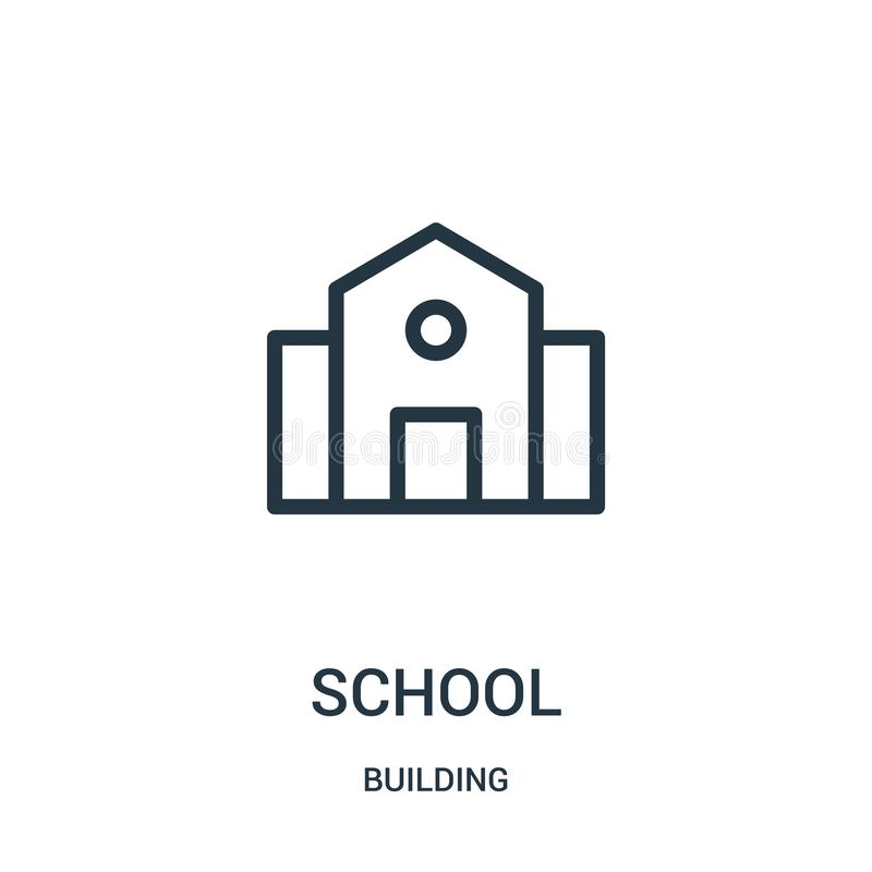 school icon vector from building collection. Thin line school outline icon vector illustration vector illustration