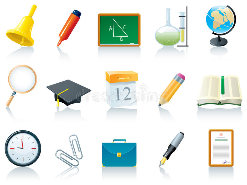 Download School icons stock vector. Image of illustration, design - 12303057