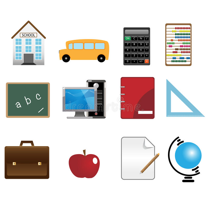 School icons. Set of twelve school icons isolated on white background.EPS file available