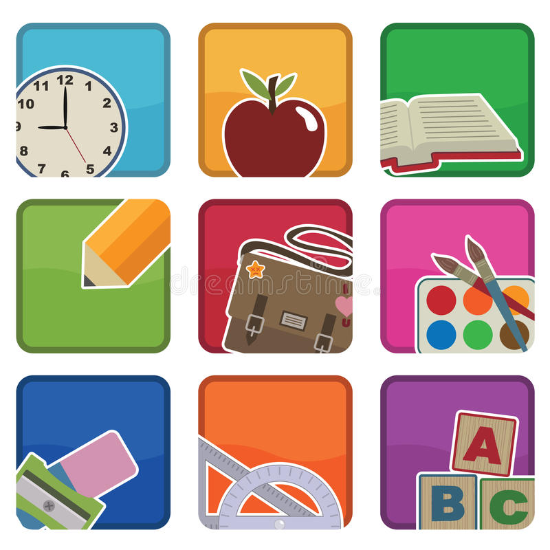 Download School icons stock vector. Image of pencil, object, clip - 15043531
