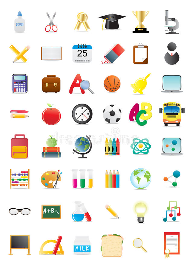 School icons stock illustration