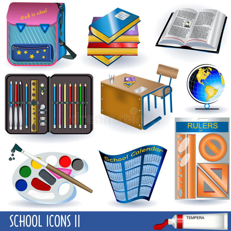 Download School icons 2 stock vector. Image of chair, ruler, image - 15998168