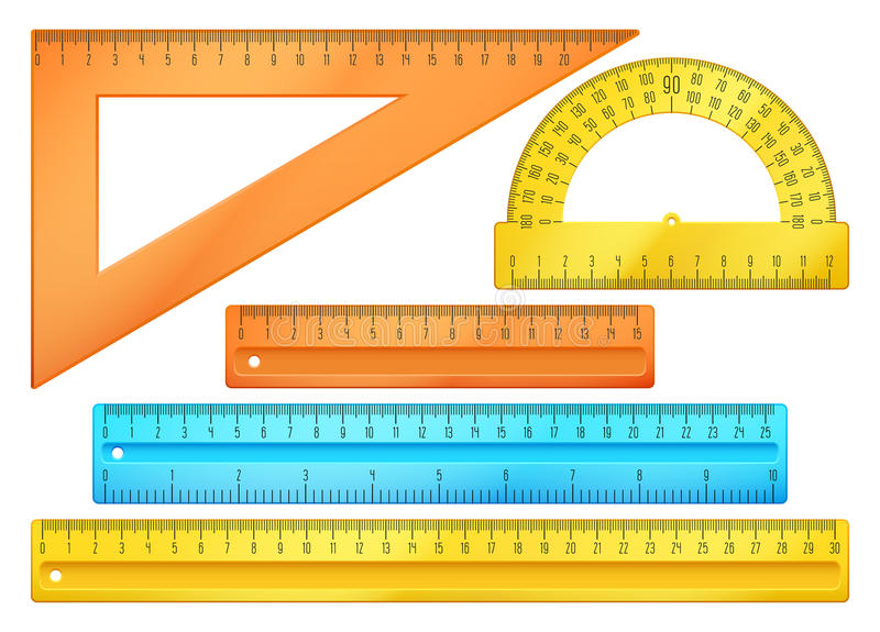 Time Measuring Instruments : School instruments rulers vector set stock
