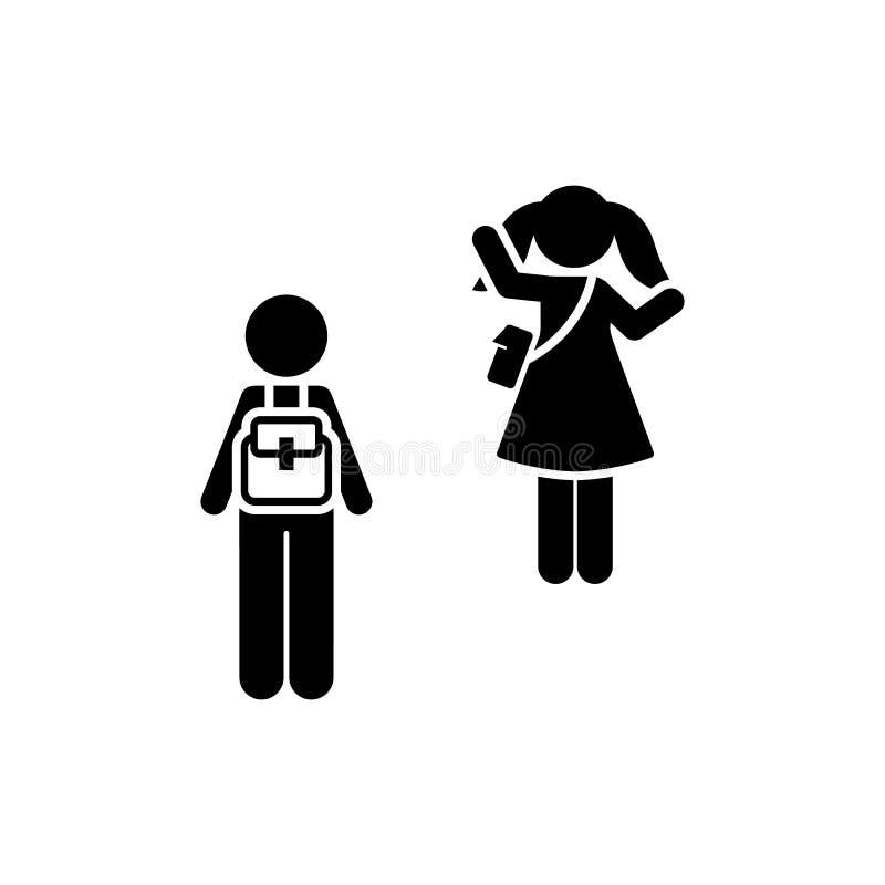 School, jongen, meisje, tot ziens, pictogram Element van kinderenpictogram Grafisch het ontwerppictogram van de premiekwaliteit t vector illustratie