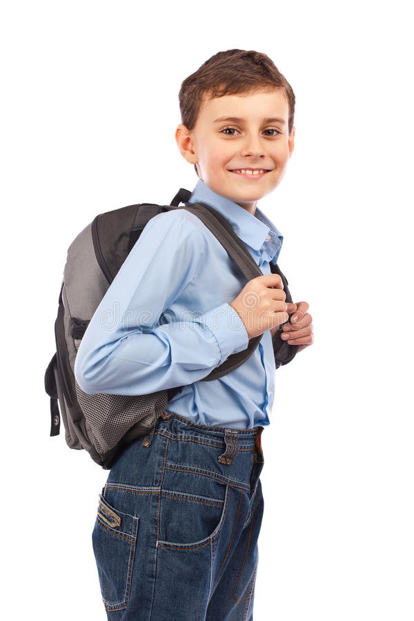 Download School kid with backpack stock image. Image of isolated - 18098165