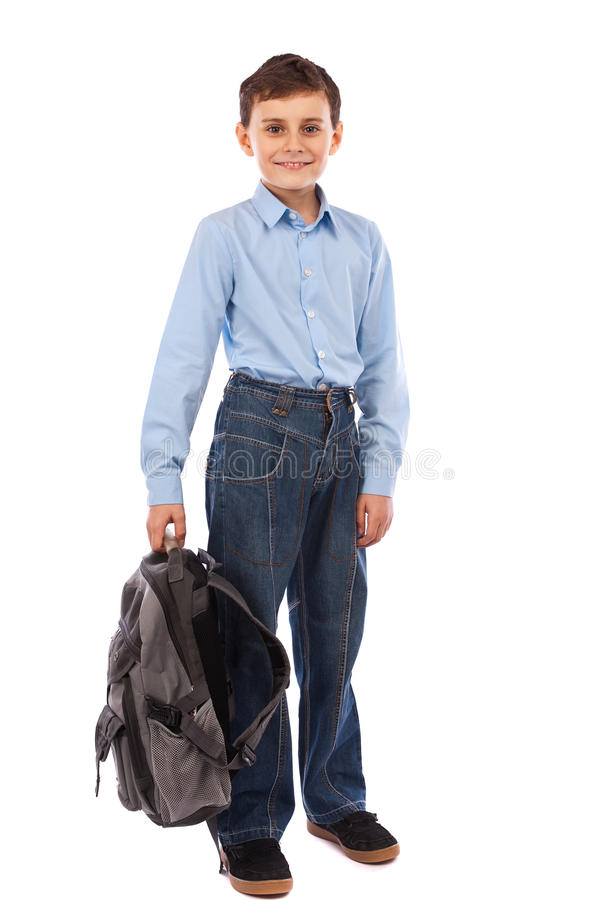 Download School kid with backpack stock photo. Image of blue, educational - 18098172