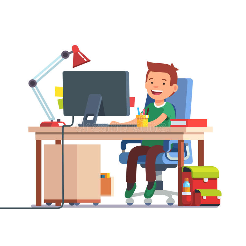 School kid boy studying in front of the computer royalty free illustration