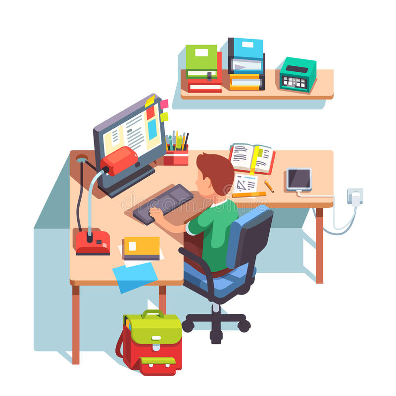School kid boy studying in front of the computer. Young school kid boy studying sitting in front of the desktop computer at his home desk. Doing homework at home royalty free illustration