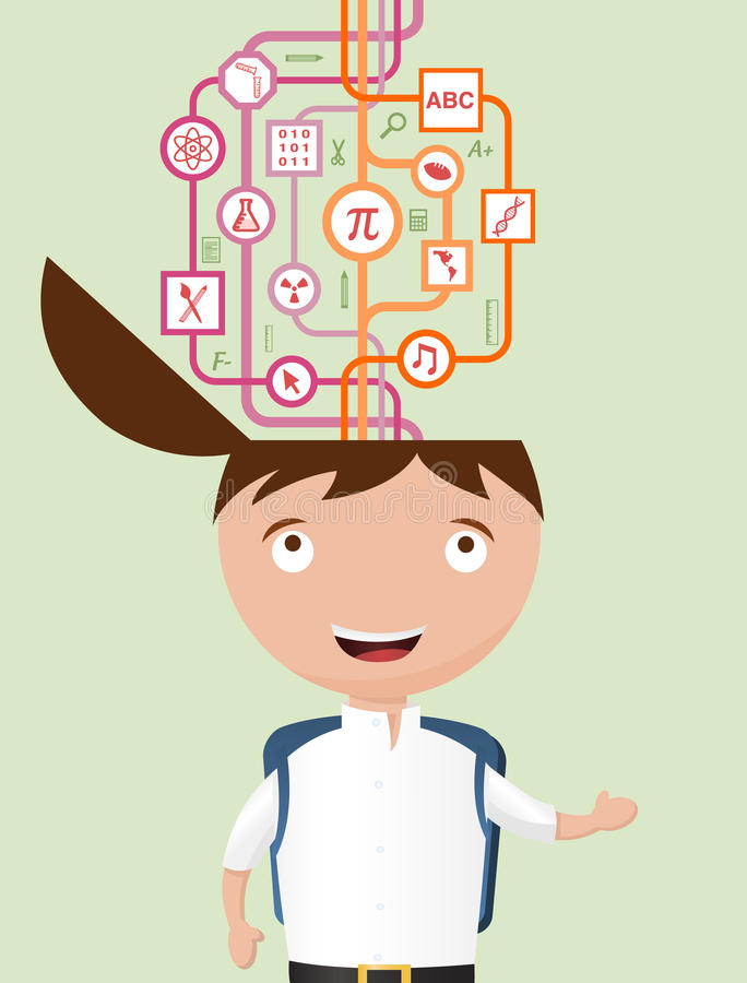School Kid Getting Information The Hard Way. Vector Illustration of a boy going back to school with a graphic respresenting a complicated way of getting vector illustration