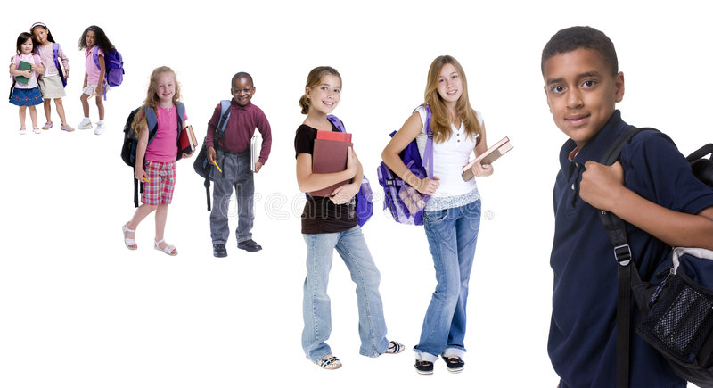 School Kids. Young kids are ready for school. Education, family, learning