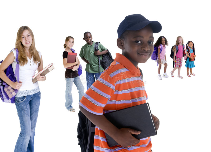 School Kids. Young kids are ready for school. Education, family, learning stock images