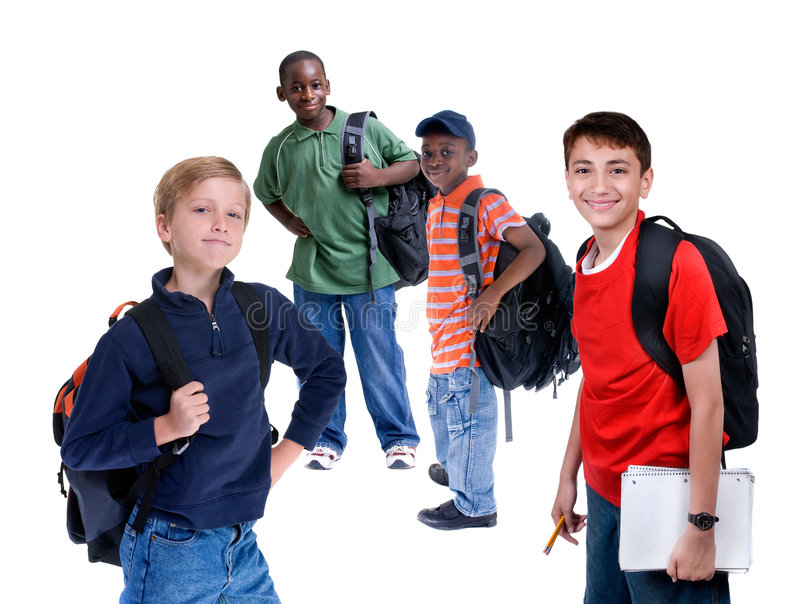 School Kids. Young kids are ready for school. Education, family, learning royalty free stock photos