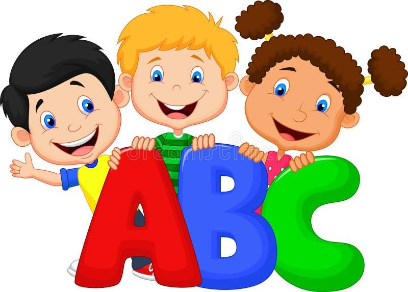 School kids with ABC stock illustration