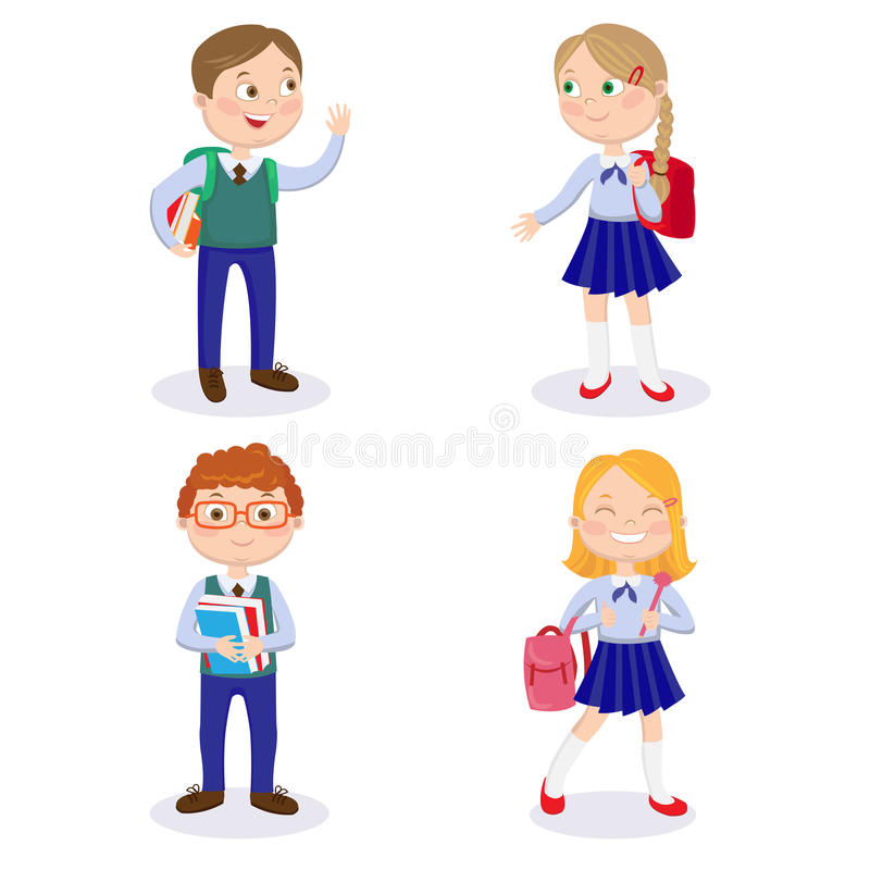 School Kids with Backpacks and Books. Happy Boys and Girls Go to School royalty free illustration
