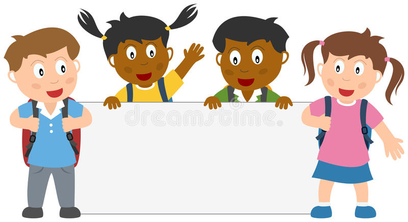 School Kids with Blank Banner vector illustration